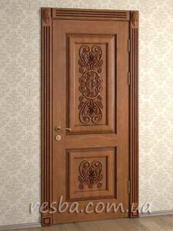 Межкомнатная или входная деревянная дверь D3-04. Возможно исполнение глухое или со стеклом. В стоимость входит дверное полотно 800х2000мм. из массива ясеня, дверная лутка шириной 100мм., наличники на одну сторону.